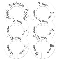 """Baby Nursery Gender Neutral Closet Clothing Size Dividers White Set of 6 Fits 1.5"""" Rod"""