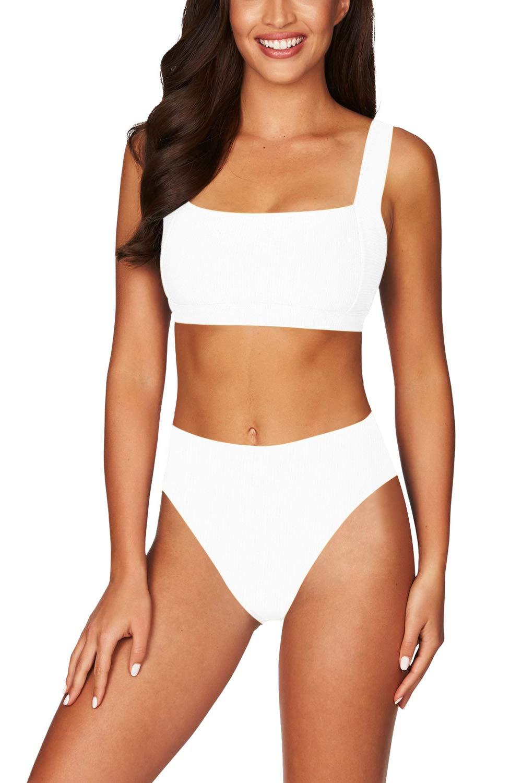 Elosele Women's Square Neck Crop Top High Waisted Bikini Set Two Piece Swimsuit