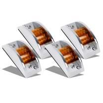 Partsam 4x Sealed Chrome Armored LED Trailer Clearance and Side Marker Light 12LED Amber
