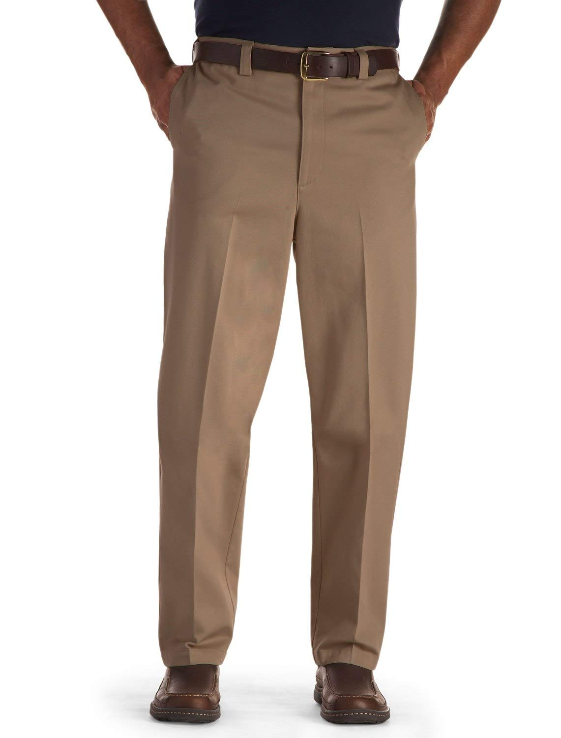 Oak Hill by DXL Big and Tall Flat-Front Premium Stretch Twill Pants, Latte, 48 X 30, Regular Rise