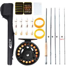 Dr.Fish Fly Fishing Rod Reel Combos 9ft 5/6wt 19-in-1 Prespooled Compelet Starter Package Outfit Kit with Backing Flies Fly Box Taper Leader