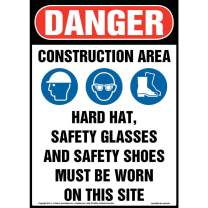 """Danger: Construction Area, PPE Must Be Worn Sign - J. J. Keller & Associates - 14"""" x 20"""" Aluminum with Rounded Corners for Indoor/Outdoor Use - Complies with OSHA 29 CFR 1910.145 and 1926.200"""