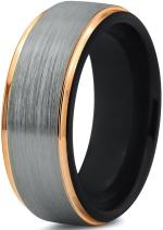Midnight Rose Collection Tungsten Wedding Band Ring 8mm for Men Women 18k Yellow Gold Plated Step Edge Black Brushed Polished