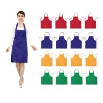 16 PCS Plain Color Bib Adult Apron for Women Men with 2 Pockets Waterproof Apron for Kitchen Cooking Drawing Crafting Painting Chef Restaurant Baker Servers Waitress Waiter BBQ(16, Blue Combination)