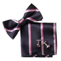 Epoint EBC1013 Hot Pink Bowtie Stripes Contemporary Relax Silk Pre-tied Bowtie Cufflink Hanky Set