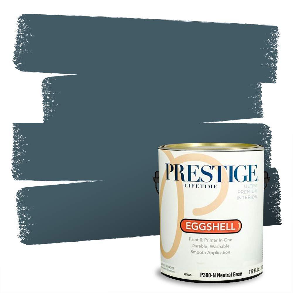 Prestige, Greens and Aquas 5 of 9, Interior Paint and Primer In One, 1-Gallon, Eggshell, Steel Blue
