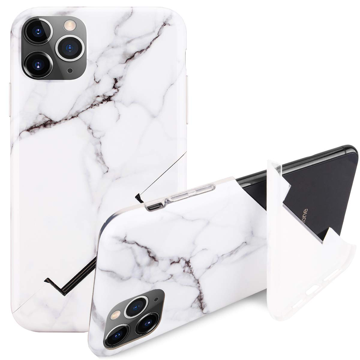 """iPhone 11 Pro Max Kickstand Case, Stylish White Marble iPhone Case for iPhone 11 Pro Max 6.5"""" Foldable Durable Flexible Soft Ultra-Thin Shockproof Slip Resistant TPU Case Cover for Girls Men"""