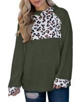 Gemijack Womens Chunky Winter Sherpa Fuzzy Fleece Sweatshirts Leopard Patchwork Pullover Outwears