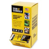 """Tub O Towels Heavy-Duty 10"""" x 12"""" Size Multi-Surface Cleaning Wipes, 100 Individually Wrapped On-The-Go Wipes, Gravity Feed Dispenser"""