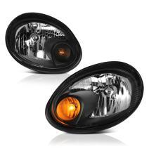 VIPMOTOZ Black Housing OE-Style Headlight Headlamp Assembly For 2003-2005 Dodge Neon, Driver & Passenger Side