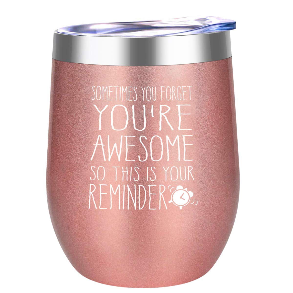 DOERDO You are Awesome Wine Tumbler-Funny Birthday Wine Gifts Ideas for Women, Gifts for Sister, Best Friends, Employee, Coworker, Appreciation Gift,-Wine Tumbler Cup with Lid(12oz, Rose gold)