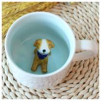 Surprise 3D Cartoon Miniature Animal Coffee Cup Mug with Baby Dog Inside - Best Office Cup & Christmas Gift (Dog)