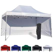 Vispronet 10x15 Instant Canopy Tent and 2 Side Walls – Commercial Grade Aluminum Frame with Water-Resistant Canopy Top and Sidewall – Bag and Stake Kit Included (White)