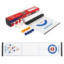 3 in 1 Tabletop Fun Board Games Shuffleboard, Curling Game and Bowling Set ,Portable Family Games for Kids and Adults for Indoor and Outdoor