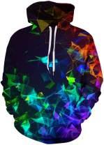 FLYCHEN Men's Digital Print Sweatshirts Hooded Top Galaxy Pattern Hoodie