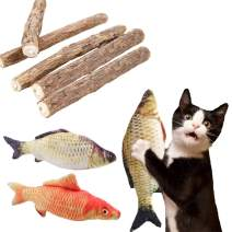 FineInno Cat Catnip Set Organic Natural Matatabi Silvervine Stick Toy Plant Chew Fish Toy Treats Ball Molar Tools Teeth Cleanging Healthy Care for Pet Kitten Cat