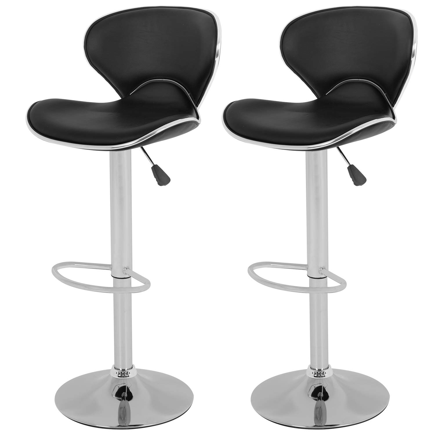 Vnewone Set of 2 Swivel Barstools Height Adjusta with Back Dining Kitchen Room Counter PU Comfortable Bar Chairs, Black