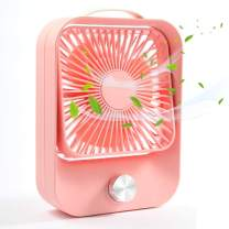 Personal Desktop Fan, TekHome Small USB Fan for Home Office Outdoor, Gifts for Women Teen Girls, Desk Fan Battery Powered, Pink.