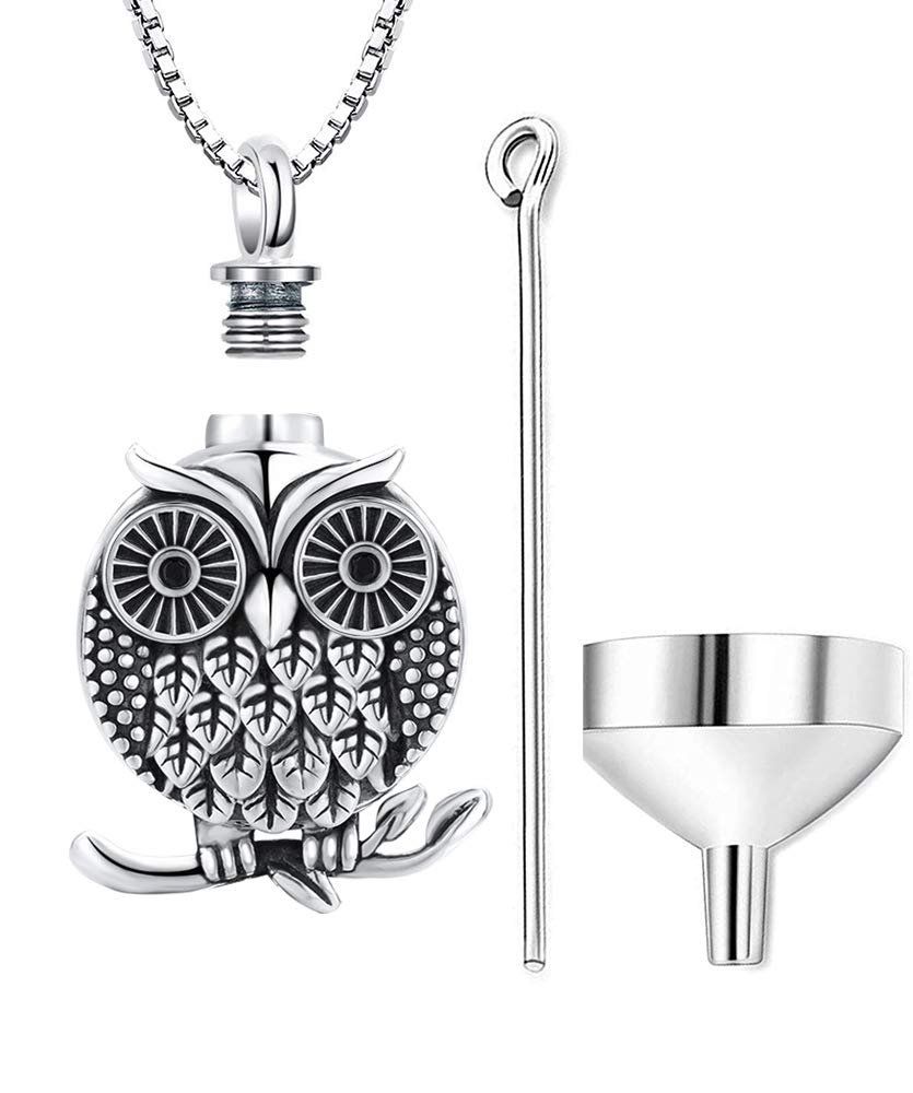 Aniu Cremation Jewelry Owl Charm Urn Pendant Necklace for Women - 925 Sterling Silver Memorial Ashes Keepsake Jewelry (with Fill Kit and Gift Box)