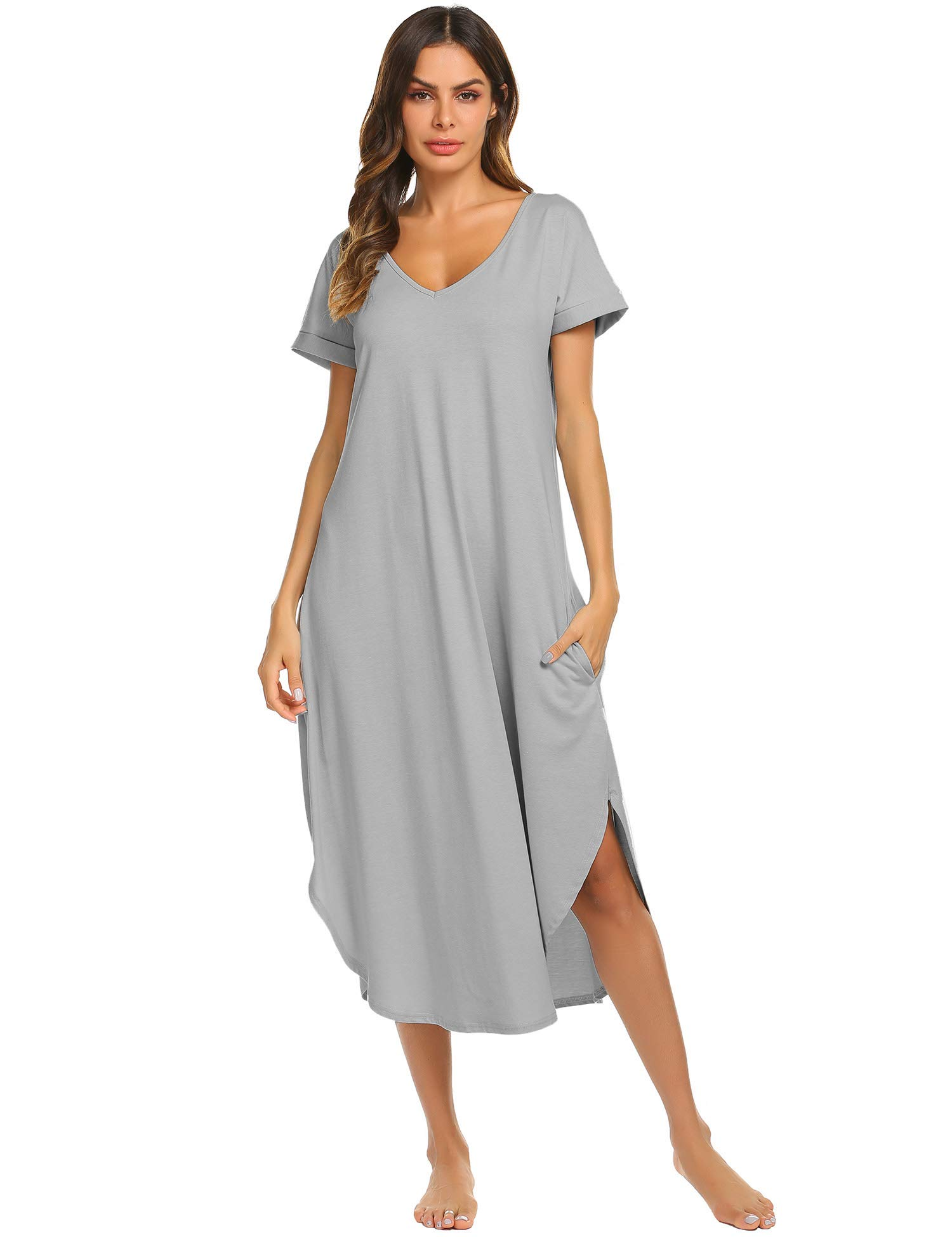 Ekouaer Nightgowns Womens V Neck Loungewear Short Sleeve Sleepwear Plus Size Night Wear S-XXL