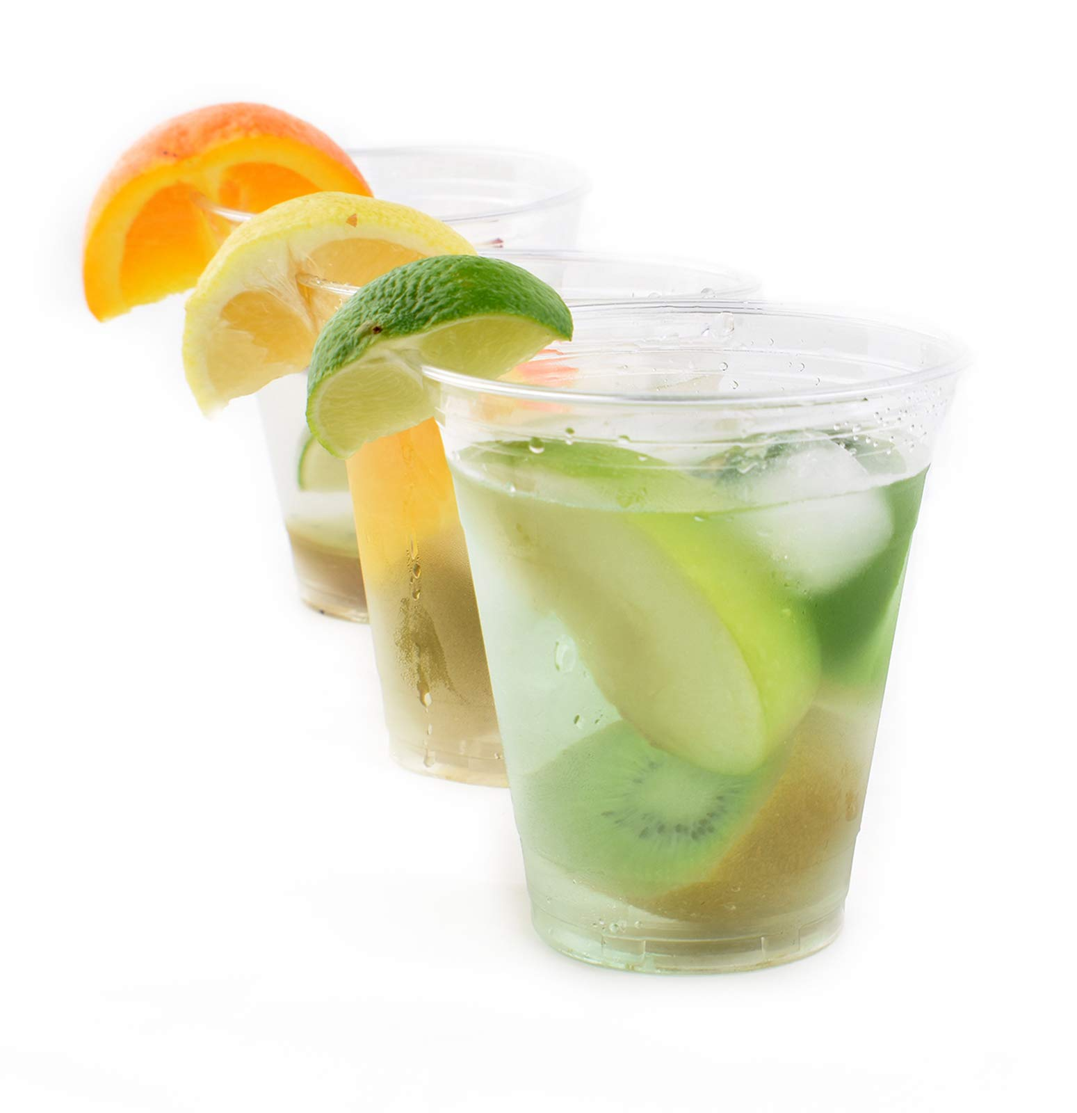 [200 SETS] Plastic Disposable Cups with Lids - Premium 12 oz (ounces) Crystal Clear PET for Cold Drinks Iced Coffee Tea Juices Smoothies Slush Soda Cocktails Beer Kids Safe (12oz Cups + Flat Lids)