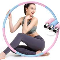 colorfarm Weighted Fitness Exercise Hoop for Adults & Beginners Weight Loss Sports Exercise Hoops Detachable Design 6 Sections Stainless Steel Tube Workout Equipment for Women Men