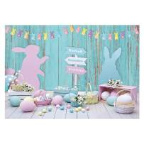 Funnytree Spring Easter Backdrop for Photography Blue Wood Floor Photo Studio Background Colored Eggs Happy Bunny Rabbit Rustic Wooden Wall Baby Kids Portrait Party Decor Banner Photobooth 7x5ft