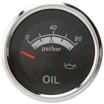 """Sierra International 67022P Sterling Scratch Resistant Electric Oil Pressure Gauge, 2"""", Black"""