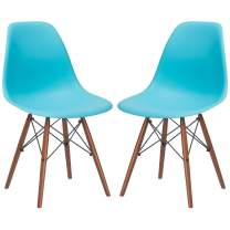 Poly and Bark Vortex Modern Mid-Century Side Chair with Wooden Walnut Legs for Kitchen, Living Room and Dining Room, Aqua (Set of 2)
