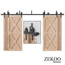 ZEKOO Rustic 11 FT Bypass 4 Doors Barn Door Hardware Sliding Black Steel Big Wheel Roller Track