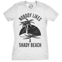Womens Shady Beach Funny Shirts Cute Vacation Vintage Novelty Hilarious T Shirt