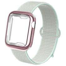 NUKELOLO Compatible for Apple Watch Band 38mm 40mm 42mm 44mm with Case, Sport Nylon Loop and TPU Screen Protector Case for iWatch Sport Series 4/3/2/1
