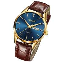 OLEVS Men's Watches Luxury Sports Casual Quartz Wristwatches Luxury Leather Watches -Waterproof Calendar Day/Date Watch Classic Leather Band Watch Mens