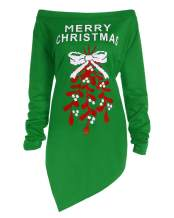 BBYES Womens Christmas Shirt Off The Shoulder Irregular Hem Shirt Tunic Dress