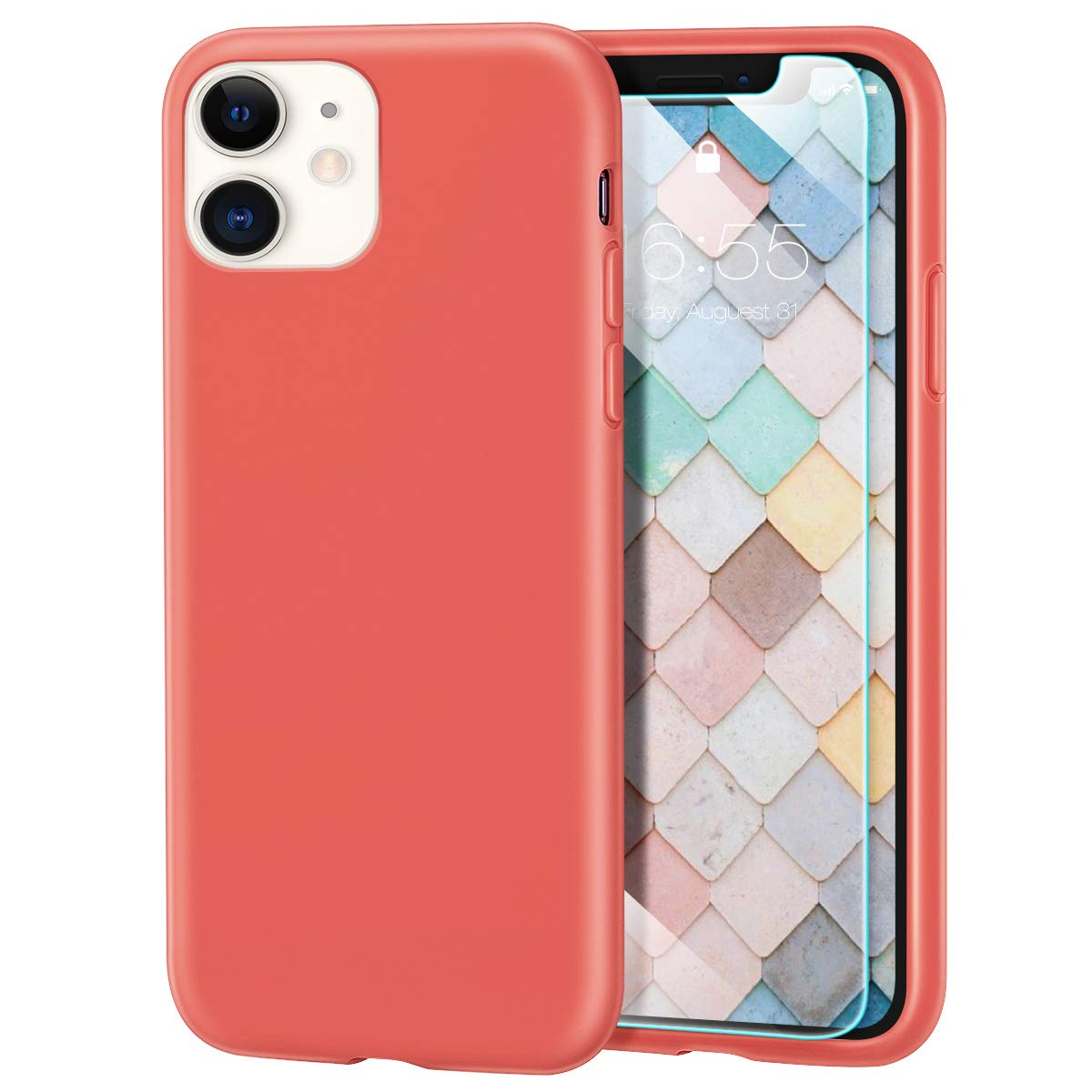 MILPROX iPhone 11 Case with Screen Protector, Liquid Silicone Gel Rubber Shockproof Slim Shell with Soft Microfiber Cloth Lining Cushion Cover for iPhone 11 6.1 inch (2019)-Coral