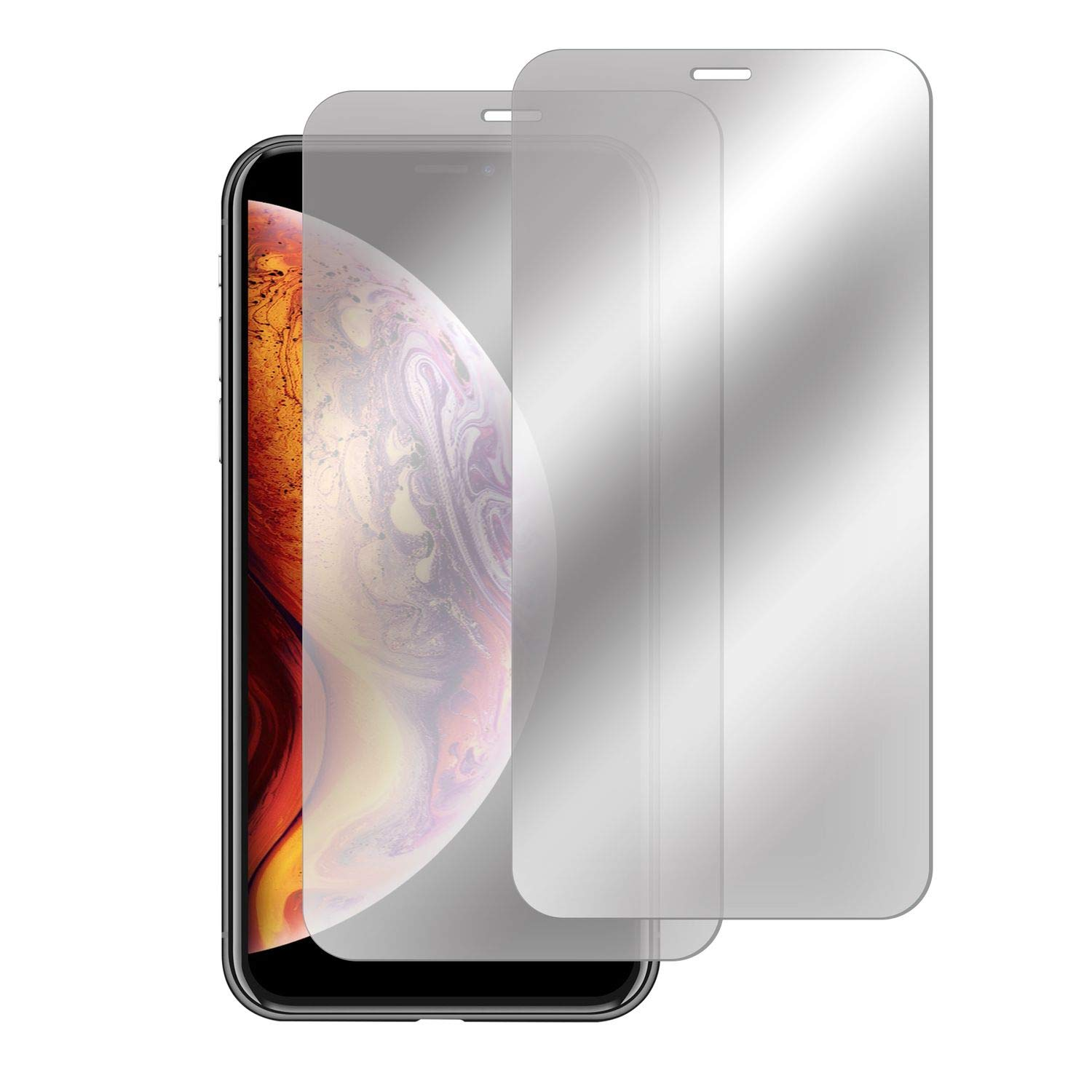 "Insten [Mirror] Tempered Glass Screen Protector Compatible with iPhone Xs Max 6.5"" 2018 (2-Pack),Film Cover 9H Hardness & Case Friendly,Touch Accurate & Bubble-Free w/Easy Installation Tray"