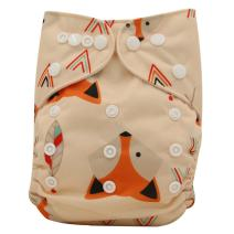 Ohbabyka Reusable Washable Baby Boys/Girls Pocket Cloth Diapers with 1pc Insert (Fox+1 Insert)