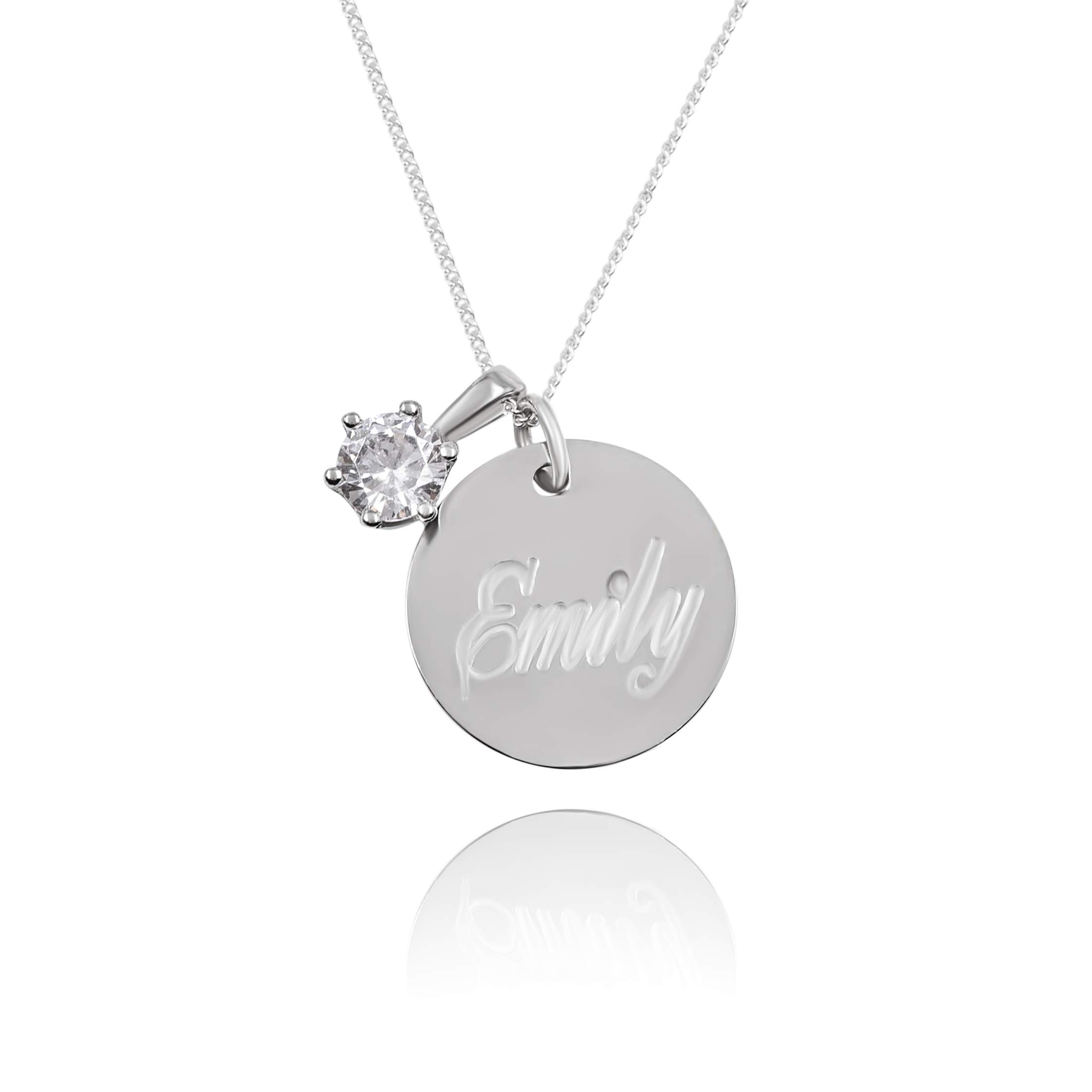 Sterling Silver Engraved Name Necklace with CZ, Personalized Disc Necklace- Custom Engraved Jewelry Gift for Her