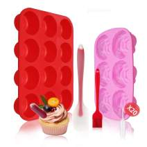 Jeteven Silicone Muffin Pan and Cupcake Pans & Flower Chocolate Mold Large 12 Cup Muffins Tray,Fat Bombs Ice Cube,Jelly,Cupcake Baking Mold with 1x Spatula,1x Brush,20x Cupcake Pipette