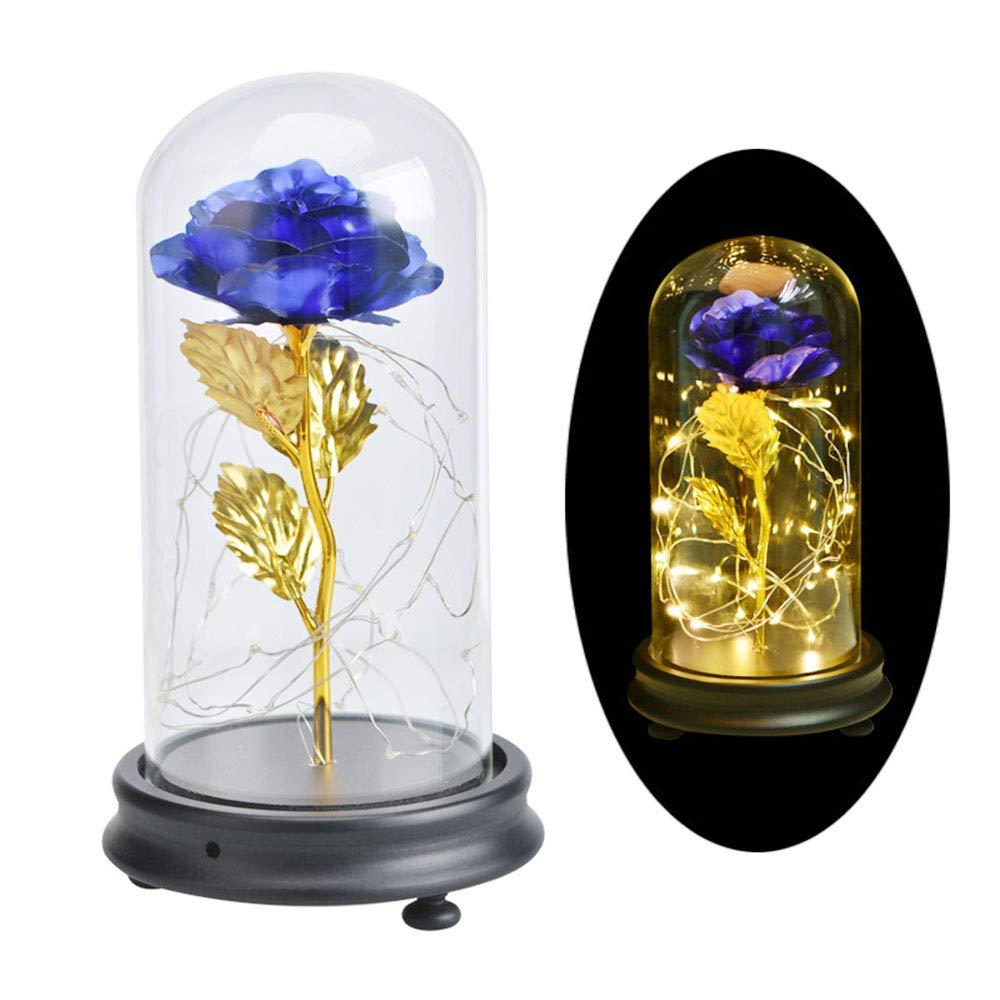 DOTKV Galaxy Rose 24k Gold Rose Glass Rose Flower Forever Rose on Gold Foil Flower Creative Decoration (Blue)