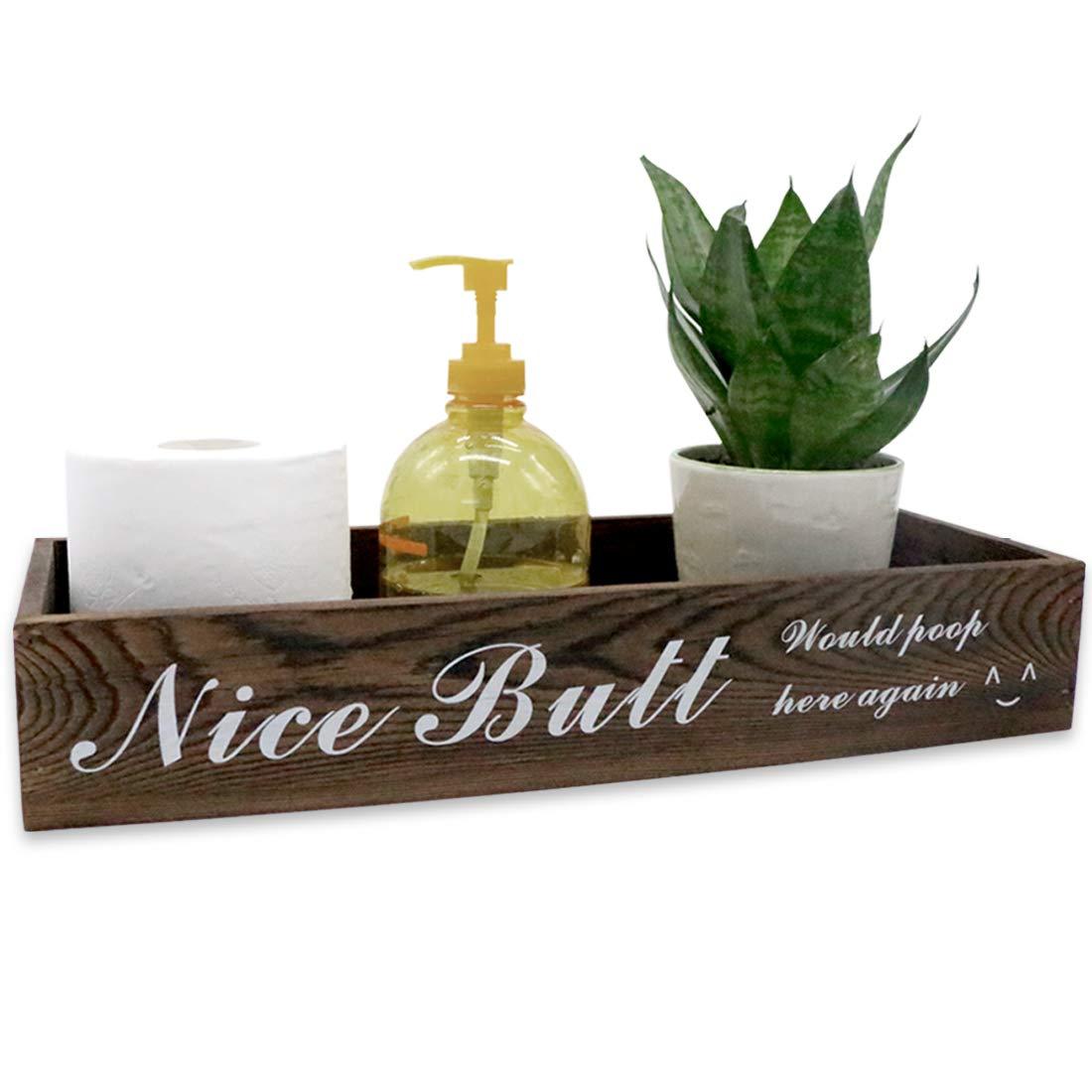 Awopee Nice Butt Bathroom Decor Box, Toilet Paper Holder, Farmhouse Wood Box Crate Storage Bin, Bathroom Rustic Home Decor