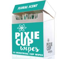 (30pcs) Pixie Menstrual Cup Portable Travel Wipes - 100% Alcohol Free - Biodegradable - Flushable - The Best Wipes for Any Period Cup Hands Down