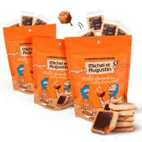 Michel et Augustin Chocolate French Cookie Squares | 3 Pack | Milk Chocolate Caramel Pure Butter Shortbread | 15 Cookie Squares Per Bag