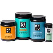Perfect Keto Starter Bundle for Ketogenic Diet - Best to Burn Fat and Support Energy - Exogenous Ketone Base, MCT Oil Powder, Grass-Fed Keto Collagen and Ketone Testing Strips (Salted Caramel)