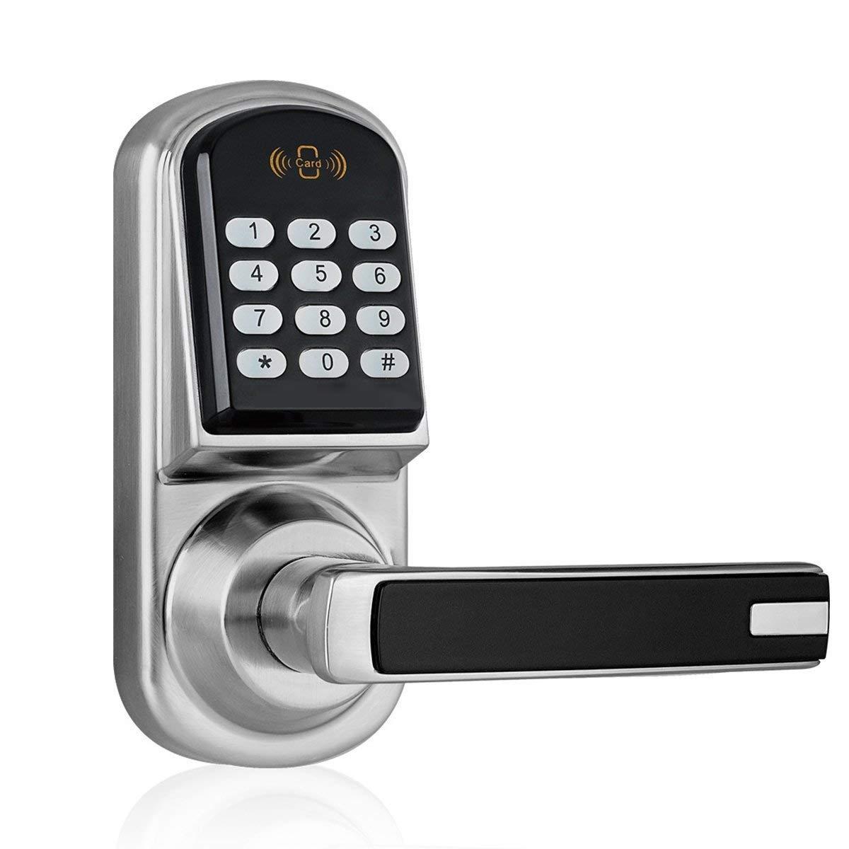 JASIT Keyless Smart Door Lock Keypad Digital with Code Mifare Card and Key Locking for Home Office Security Locks,Handle Direction Reversible