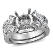 Dazzlingrock Collection 1.30 Carat (ctw) 14K Princess & Round Diamond Bridal Semi Mount Set (No Center Stone), White Gold