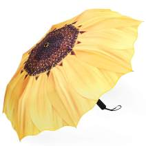 Plemo Automatic Umbrella, Folding Umbrella Windproof with Sunflower Pattern, Anti-Slip Rubberized Grip, 11.5 Inch Compact and Lightweight for Business and Travels, Wedding, Gifts, Yellow
