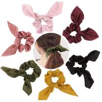 Exacoo 6 Pack Bow Hair Elastics Scrunchies Chiffon Hair Scrunchies Hair Bow Hair Tie Soft Elastic Hair Bands Ponytail Holder Bobbles for Women Bunny Ear Scrunchies Bows Scrunchies