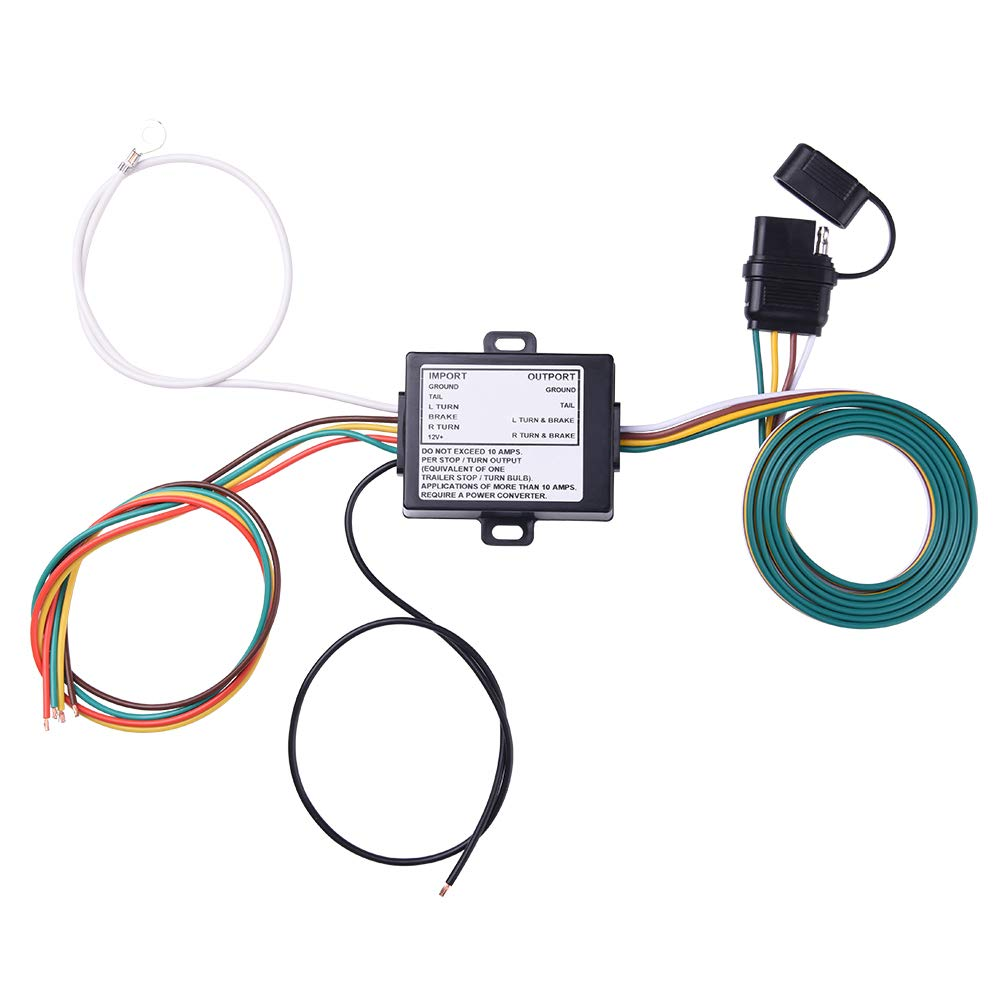 MICTUNING Powered 3-to-2-Wire Splice-in Trailer Tail Light Converter Kit with Color Coded 4-Pin Wiring Harness 4-Flat Car End Connector(Compatible with LED Lights)