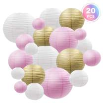 Decorative Party Paper Lanterns 20 Pcs Multicolor Pink White Metallic Gold Round Japanese/Chinese Lantern Lamp Garland for Wedding Bridal Baby Shower Birthday Indoor Outdoor, by BllalaLab